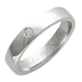 Кольцо обручальное с бриллиантом, гравировка Вместе Навсегда, белое золото 4.5мм