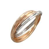 Кольцо тройное с гранями, красное и белое золото