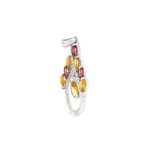 Кулон Капля с гранатами, цитринами и фианитами, серебро