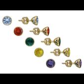 Серьги пусеты с цветными круглыми фианитами, желтое золото