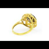 Кольцо Цветок с раухтопазом и фианитами, серебро с позолотой