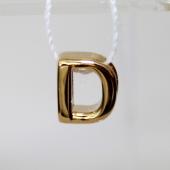 Кулон Викс буква Д, латинская D, желтое золото