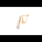 Серьги Одуванчик с фианитами, красное золото