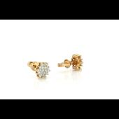 Пуссеты Звезда с бриллиантами, красное золото