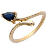 Кольцо Тюльпан с изумрудом/сапфиром, красное золото