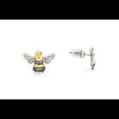Серьги-пусеты Пчела, серебро с золотым покрытием и чернением