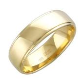 Обручальное кольцо желтое золото, гравировка Вместе Навсегда с двумя желобками 7.3 мм