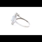 Кольцо Сердце с топазом и фианитом, серебро