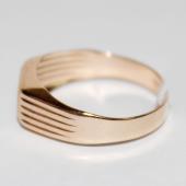 Мужское золотое кольцо, алмазная грань насечка, узкая шинка, красное золото 585 пробы