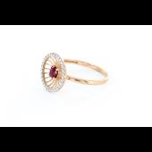 Кольцо Колибри с бриллиантами и рубином, красное золото