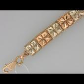 Браслет Квадраты с алмазной огранкой, комбинированное золото 7.8мм
