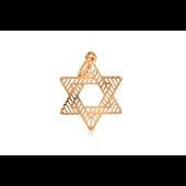Кулон Звезда Давида с алмазными гранями, красное золото