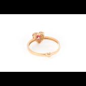 Кольцо Сердце с рубиновыми фианитами, красное золото