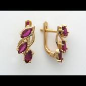 Серьги с изумрудами/рубинами формы маркиз, красное золото