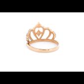 Кольцо Корона усыпана фианитами, красное золото
