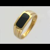 Мужское кольцо, оникс тупоугольник, красное золото, 585 пробы