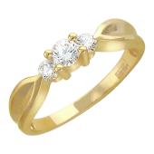 Кольцо с тремя бриллиантами, желтое золото 750 проба