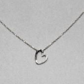Колье декоративное Сердце с фианитами, якорная цепь, белое золото