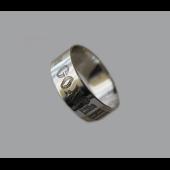 Кольцо обручальное гладкое с гравировкой Спаси и Сохрани, белое золото 6.5 мм