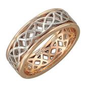 Обручальное кольцо витражное, красное и белое золото, 585 пробы 7.5мм