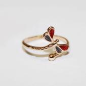 Кольцо Стрекоза с красной и синей эмалью, красное золото 585 проба