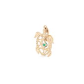 Подвеска Черепаха с зелеными фианитами, красное золото