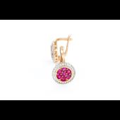 Серьги Цветы с бриллиантом и рубином, красное золото