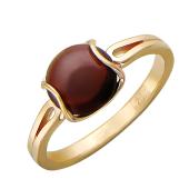 Кольцо с аметистом (грнатом, кварцем, топазом, цитрином) огранки кабошон, красное золото