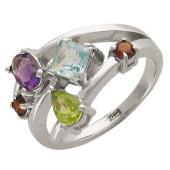 Кольцо с цветными полудрагоценнными камнями разной формы, белое золото