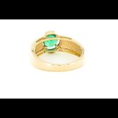 Кольцо с изумрудом и бриллиантами, красное золото