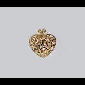 Кулон Сердце узор с фианитами, желтое золото, 585 пробы