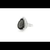 Кольцо Капелька с кварцем и фианитами, серебро