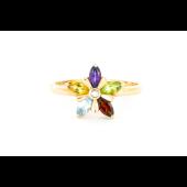 Кольцо Цветик-Семицветик с бриллиантом и топазом, аметистом, хризолитом, цитрином, гранатом, красное золото