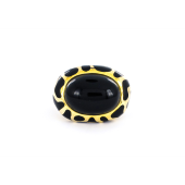 Кольцо Жираф с имитацией оникса и черными каучуковыми вставками, серебро с позолотой