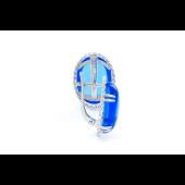 Серьги с синим алпанитом кабошон из серебра