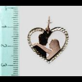 Золотой кулон Сердце с силуэтами Он и Она, алмазная огранка