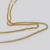 Цепь панцирная с хвостиком, желтое золото 1мм
