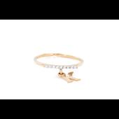 Кольцо с подвеской буква К и фианитами, красное золото