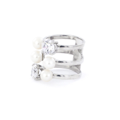 Кольцо тройное разомкнутое с жемчугом и фианитами, серебро