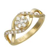 Кольцо Малинки с бриллиантами, желтое золото