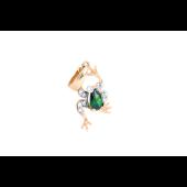 Подвеска Лягушка с зеленым и прозрачными фианитами, красное золото