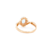 Кольцо Принцесса с топазом и фианитами, красное золото