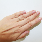 Кольцо с одним бриллиантом двустороннее, желтое золото