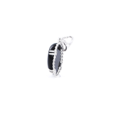 Кулон с черным овальным ониксом, серебро