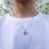 Кулон Свободное Сердце, крылья ангела, фианит в форме сердца, эмаль и желтое золото 585 пробы