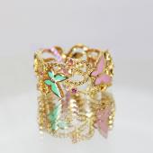 Кольцо дизайнерское Бабочки с фантазийными сапфирами и эмалью, желтое золото 750 проба