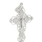 Крест ажурный с бриллиантами, белое золото
