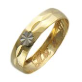 Кольцо обручальное с алмазной огранкой и гравировкой Ты и Я ширина 4мм.