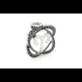 Подвеска знак зодиака Овен с чёрными и прозрачными фианитами, серебро