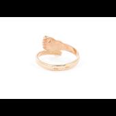 Кольцо Пяточка Младенца с фианитами, красное золото